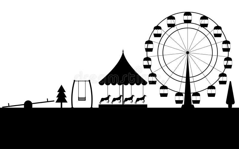 游乐园,弗累斯大转轮的黑等高在白色背景的 向量 库存例证