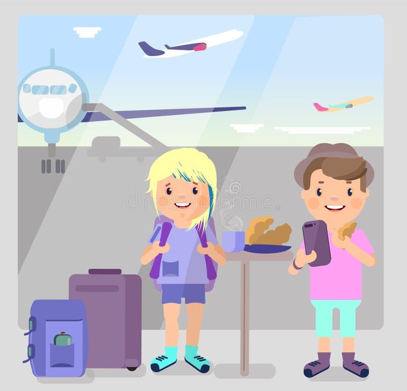 游人人和女孩在机场喝咖啡 皇族释放例证