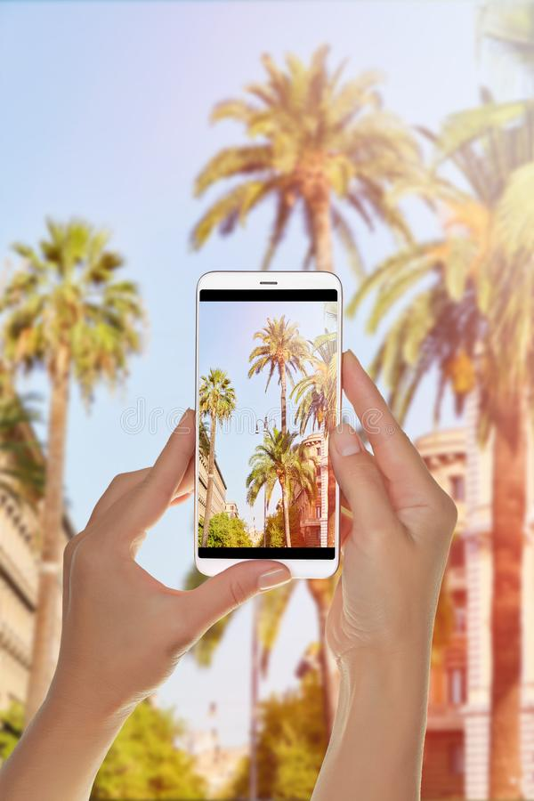 游人做照片棕榈树夏天背景 图库摄影