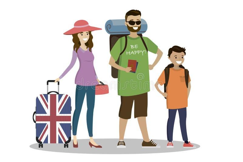 游人动画片家庭有手提箱和背包的 库存例证