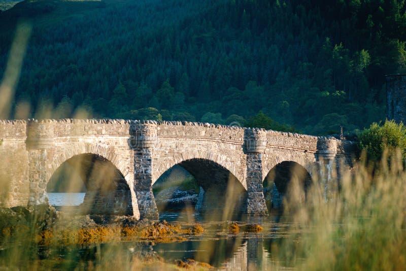 游人喜爱的位置在苏格兰-斯凯岛小岛  非常著名城堡在苏格兰叫爱莲・朵娜城堡 苏格兰绿色nat 图库摄影