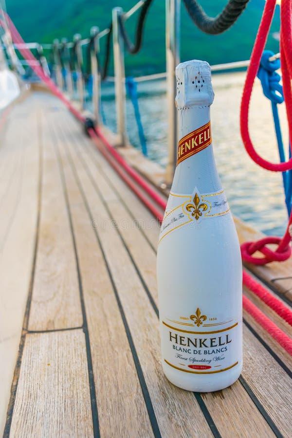 游人喝香槟,航行在沿博卡队科托尔湾的一条游艇 免版税库存图片