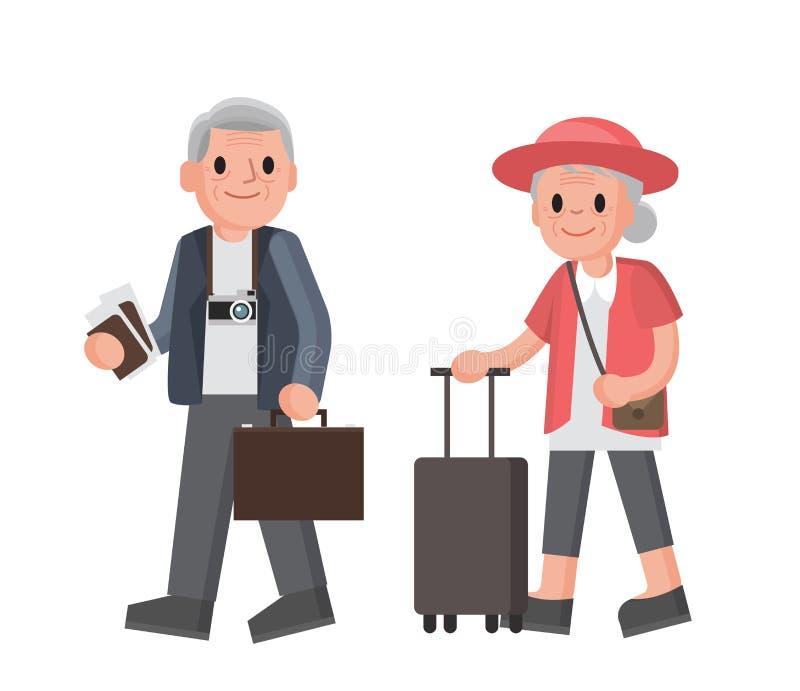 游人年长夫妇  祖母和祖父带着手提箱旅行 夫妇前辈走 向量例证