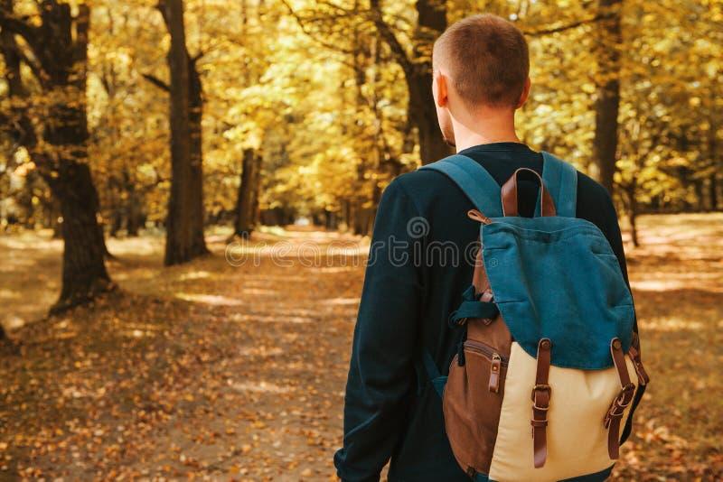 游人或旅客有一个背包的在秋天森林里 免版税库存照片