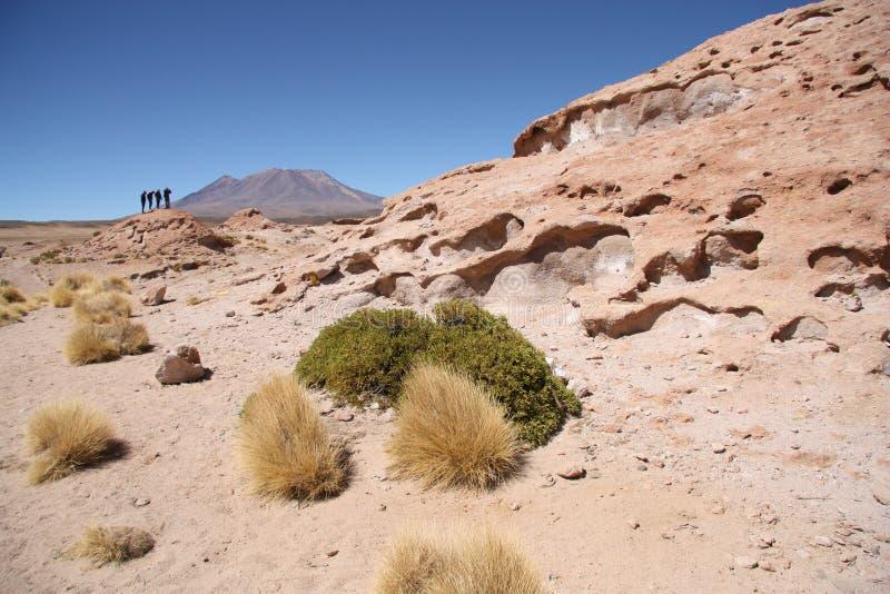 游人探索Ollague火山,波托西,玻利维亚 免版税库存图片