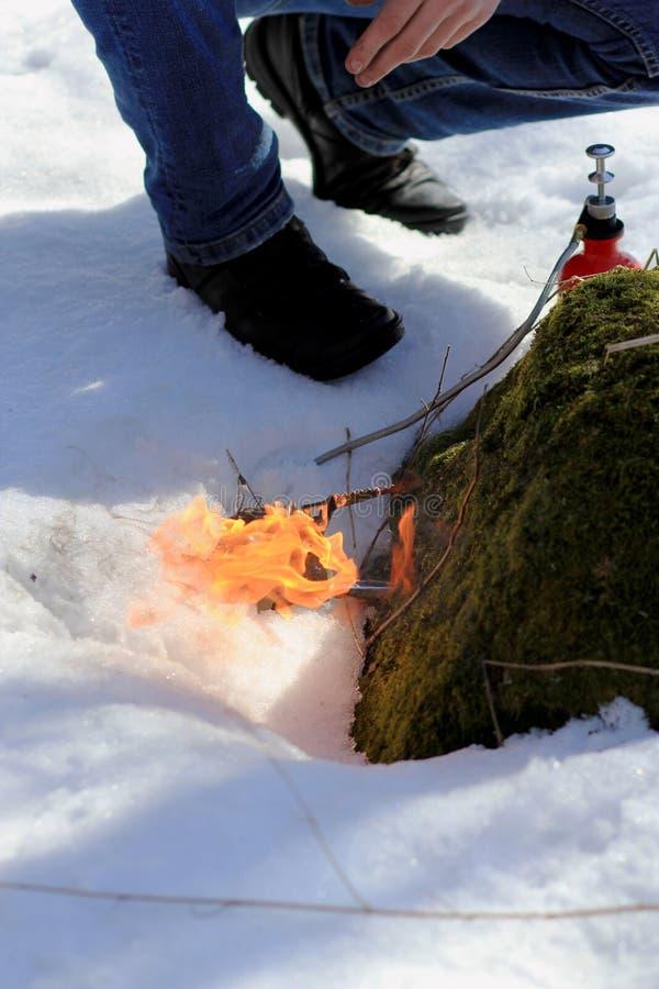 游人点燃了Primus 免版税库存图片