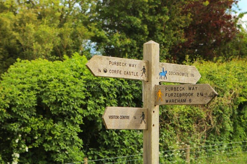 游人的路标在英国乡下 免版税图库摄影