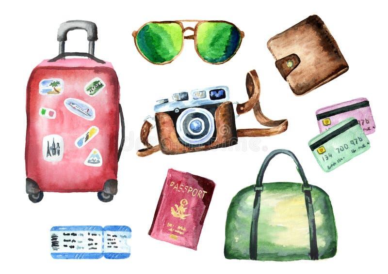 游人设置了与手提箱、袋子、护照、票、钱包、信用卡、照相机和太阳镜 背景查出的白色 水 库存例证