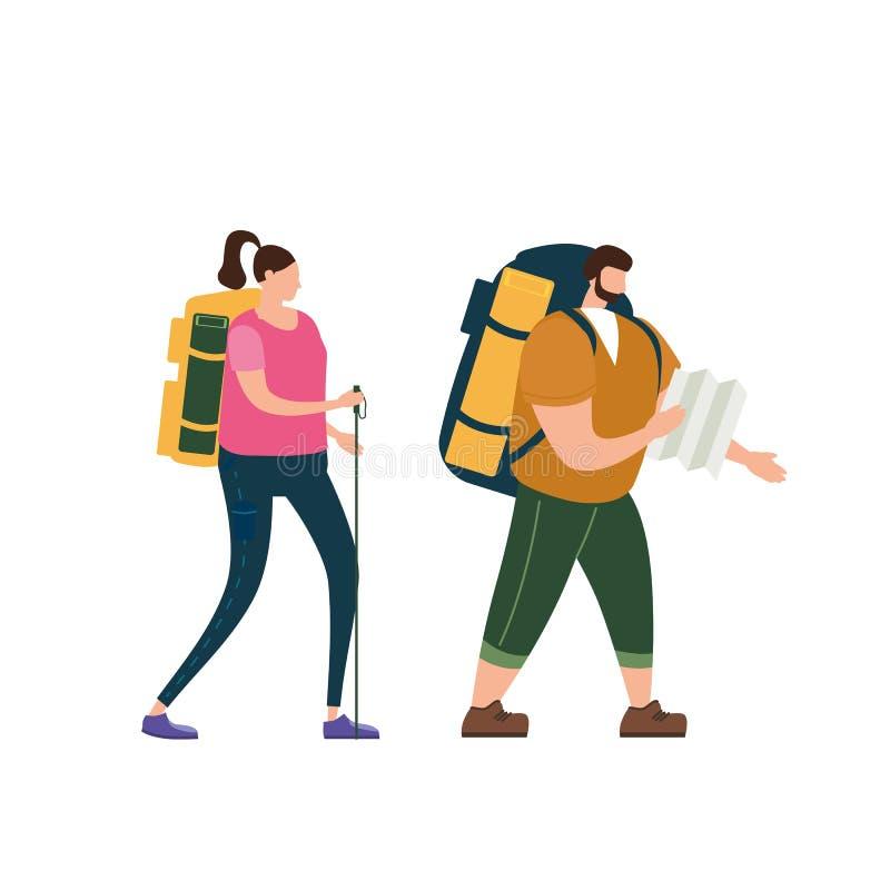 游人逗人喜爱的执行室外旅游活动的加上地图和背包 冒险旅行,远足走的旅行 向量例证