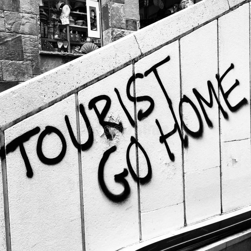 游人从巴塞罗那回家! 免版税库存照片