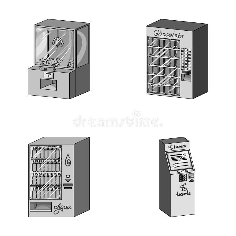 游戏机,票销售终端,卖的水色和巧克力一个自动机 终接机汇集象 向量例证