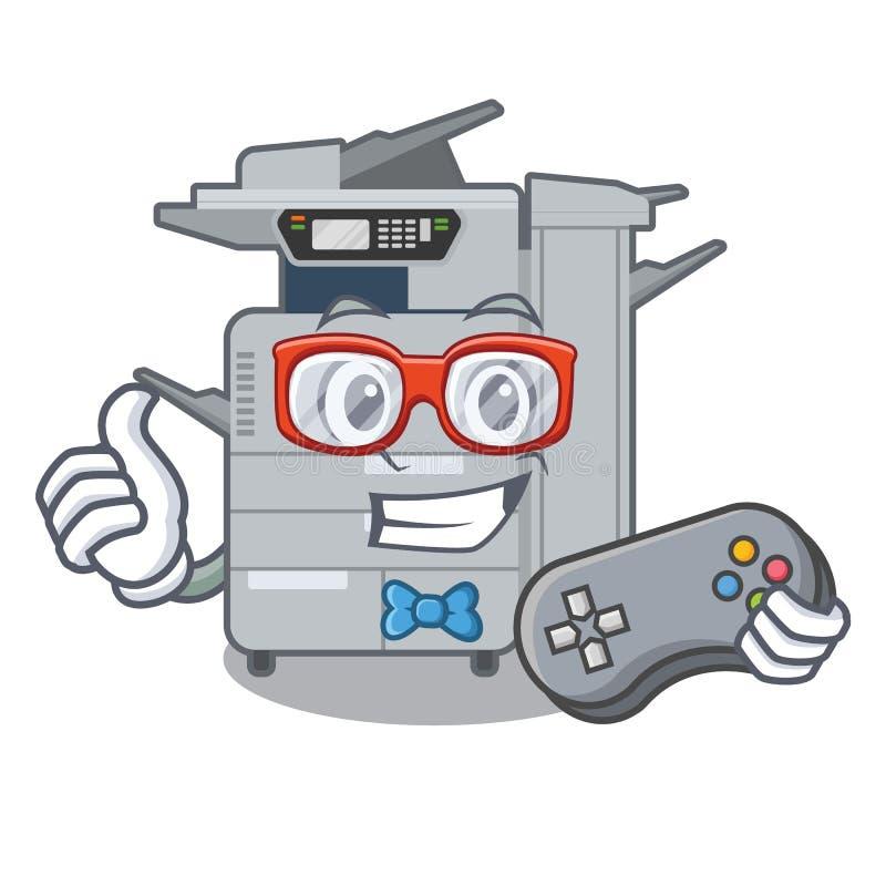 游戏玩家在吉祥人木桌上的影印机机器 向量例证