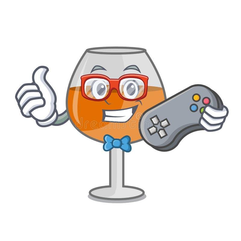 游戏玩家科涅克白兰地轻快优雅玻璃字符动画片 库存例证