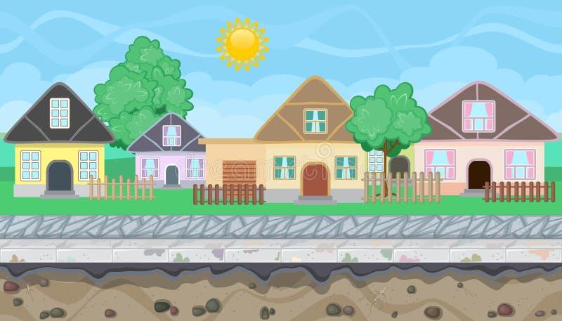 游戏设计的无缝的编辑可能的村庄视图 库存例证