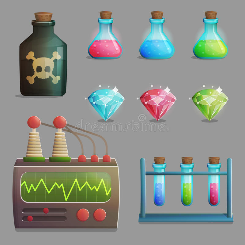 游戏设计的疯狂的教授实验室项目 库存例证