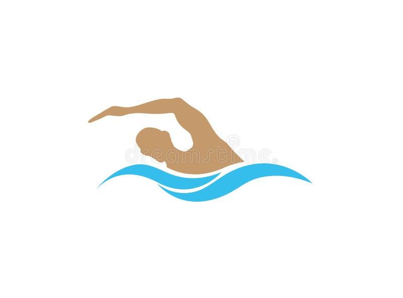 游泳在商标设计的水池三项全能 向量例证