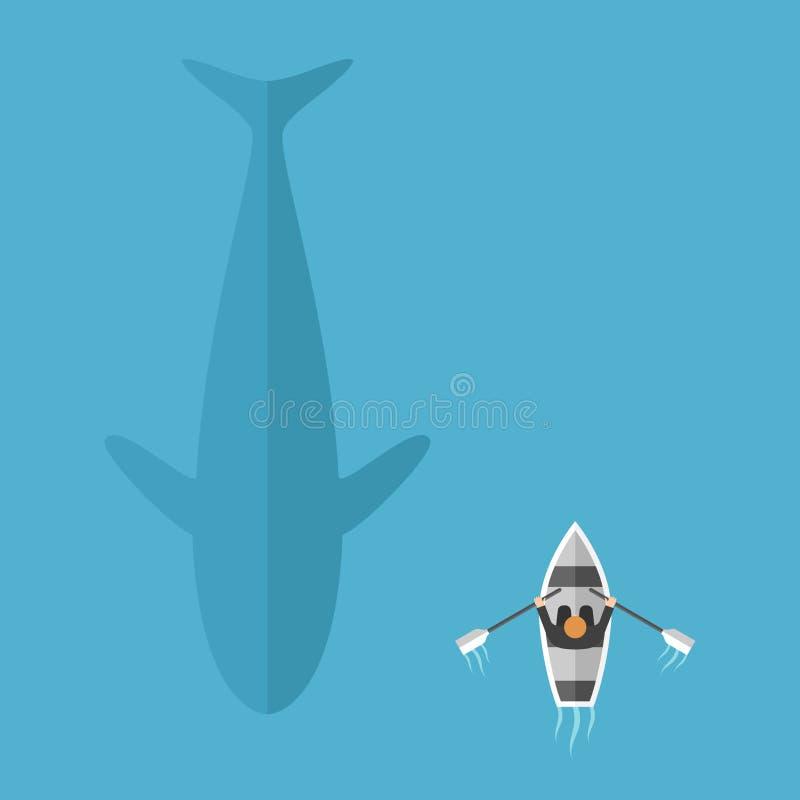 游泳在小船附近的鲸鱼 库存例证
