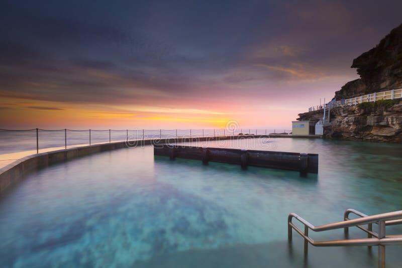 游泳在日出的岩石水池 免版税库存图片