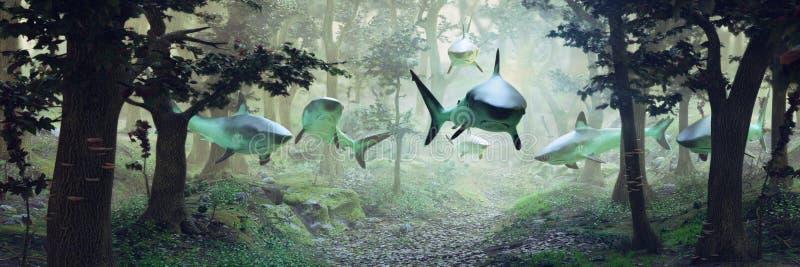 游泳在森林,与一个小组的超现实主义的场面里的鲨鱼鲨鱼飞行在有雾的幻想风景的,超现实的3d例证ba 向量例证