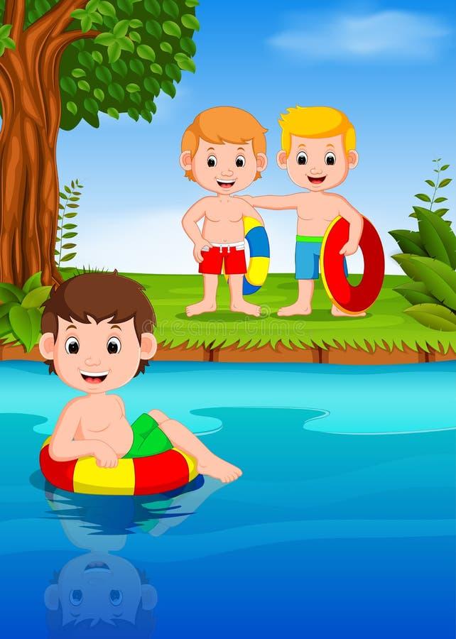 游泳在河的孩子 向量例证