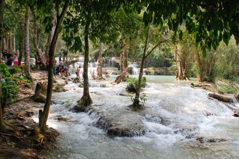 游泳在琅勃拉邦上的瀑布 库存照片