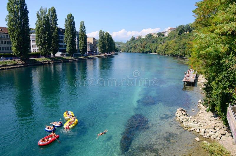 游泳在罗讷,夏天在日内瓦 免版税图库摄影