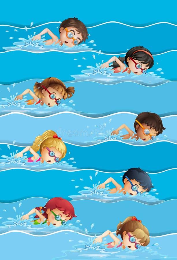 游泳在水池的许多孩子 库存例证