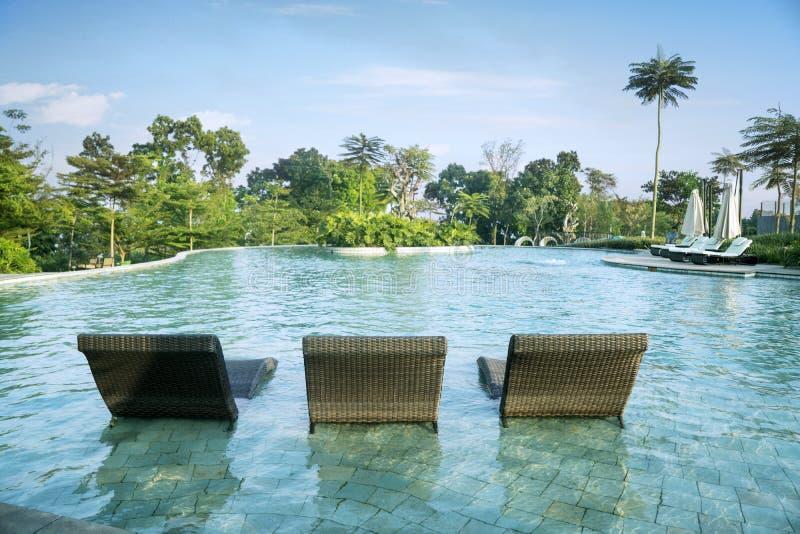 游泳场美丽的景色有长凳的 免版税库存图片