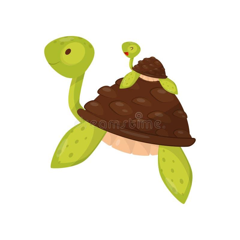 游泳母亲和小的乌龟在水面下 逗人喜爱的海洋生物 动物区系和野生生物题材 T恤杉的平的传染媒介 向量例证
