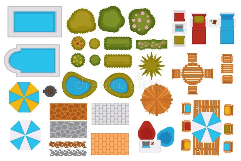 游泳池和后院设计元素集 向量例证
