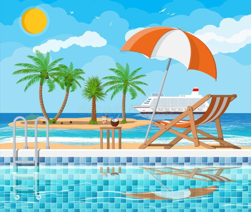 游泳池和懒人,海岛 向量例证