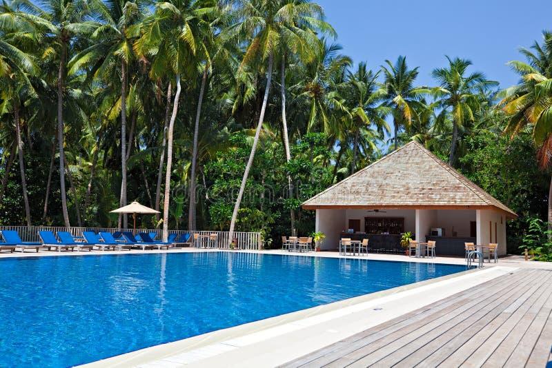 游泳池在一家热带旅馆里 免版税图库摄影