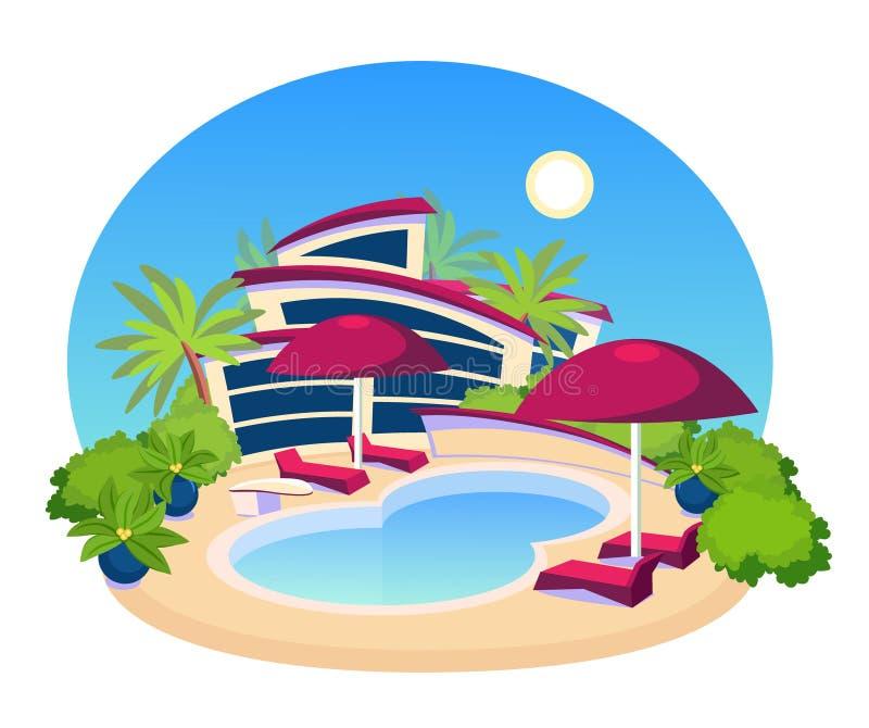 游泳池大现代别墅平的设计 库存例证