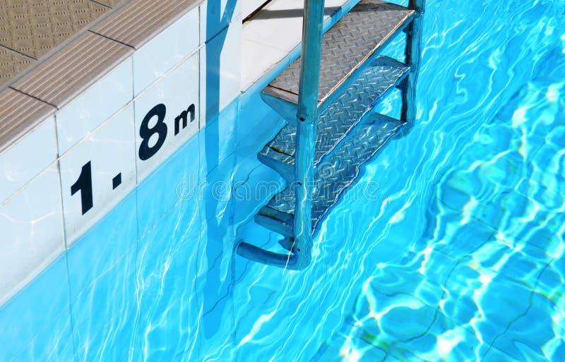 游泳池梯子和深度标志 免版税图库摄影