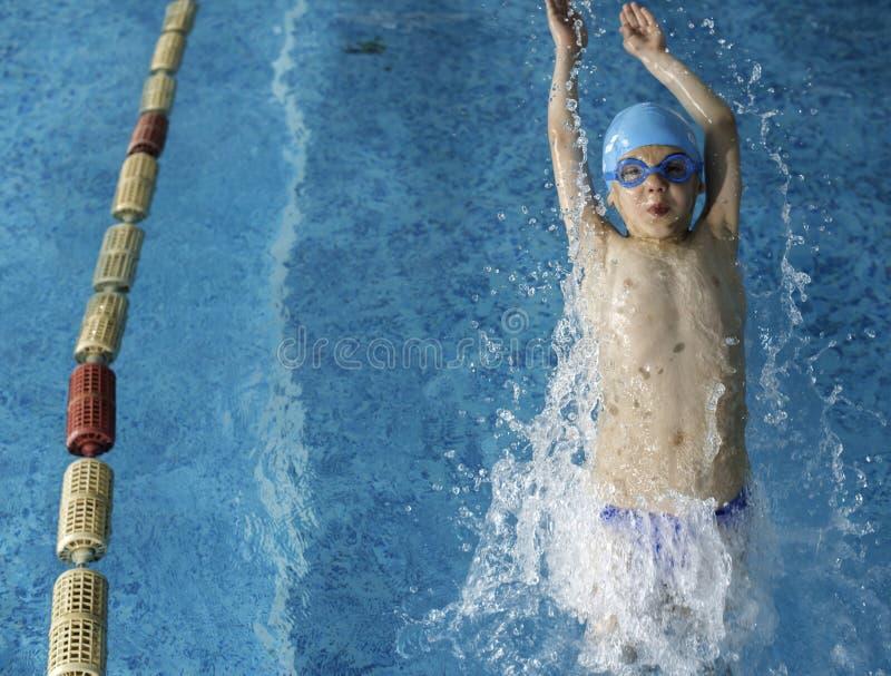 游泳池的儿童游泳者 库存图片