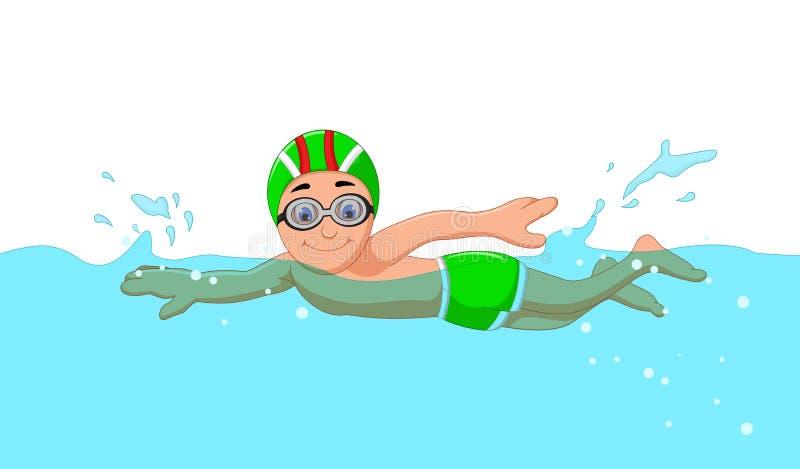 游泳池的滑稽的动画片男孩游泳者 皇族释放例证