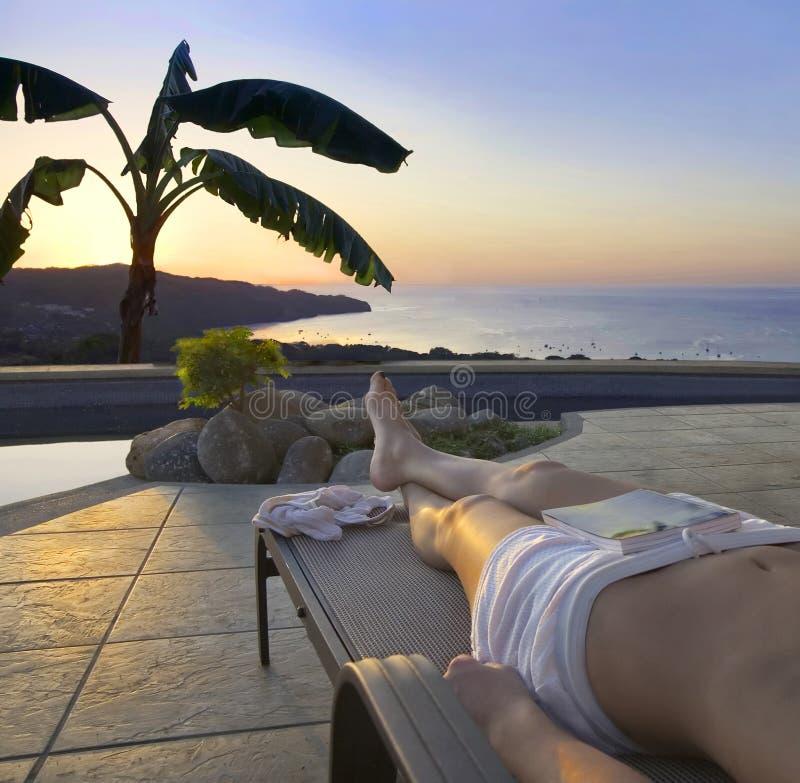 游泳池边日落热带 库存照片