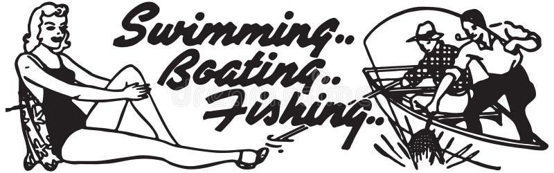 游泳的划船钓鱼 皇族释放例证
