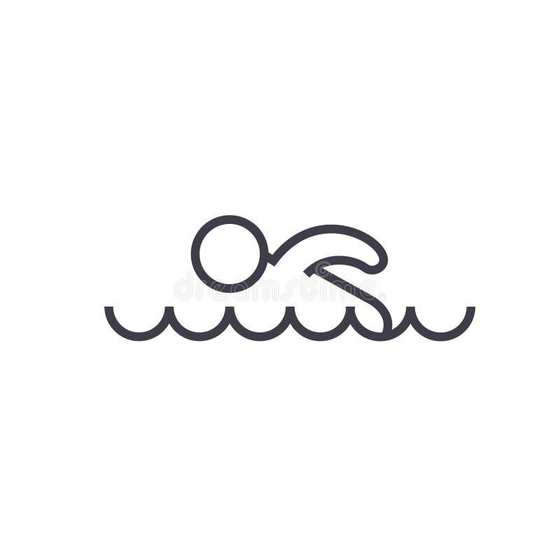 游泳的平的线例证,概念传染媒介隔绝了在白色背景的象 库存例证