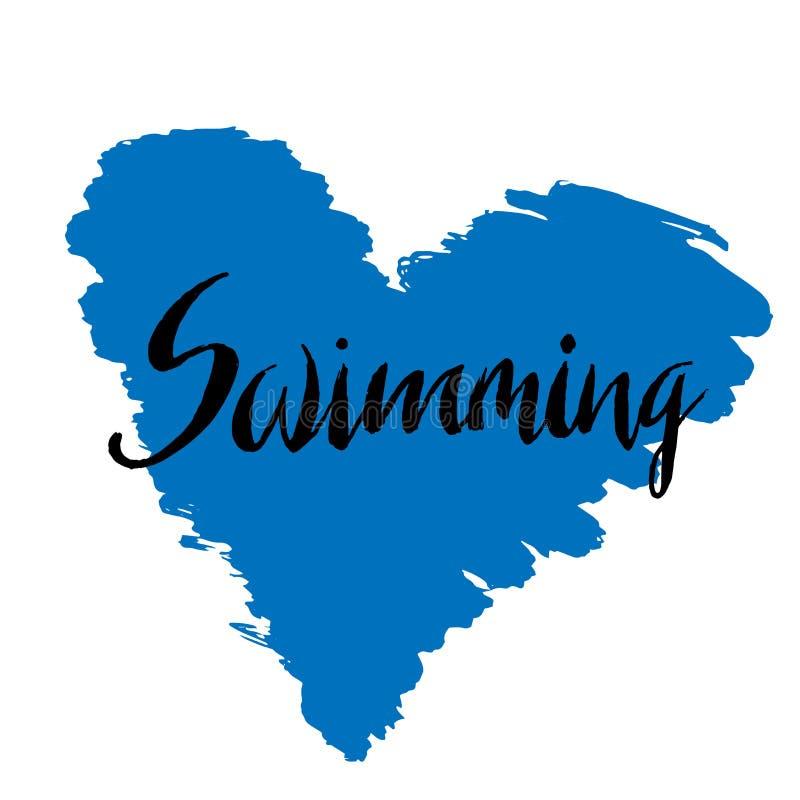 游泳的手拉的字法三项全能 向量例证