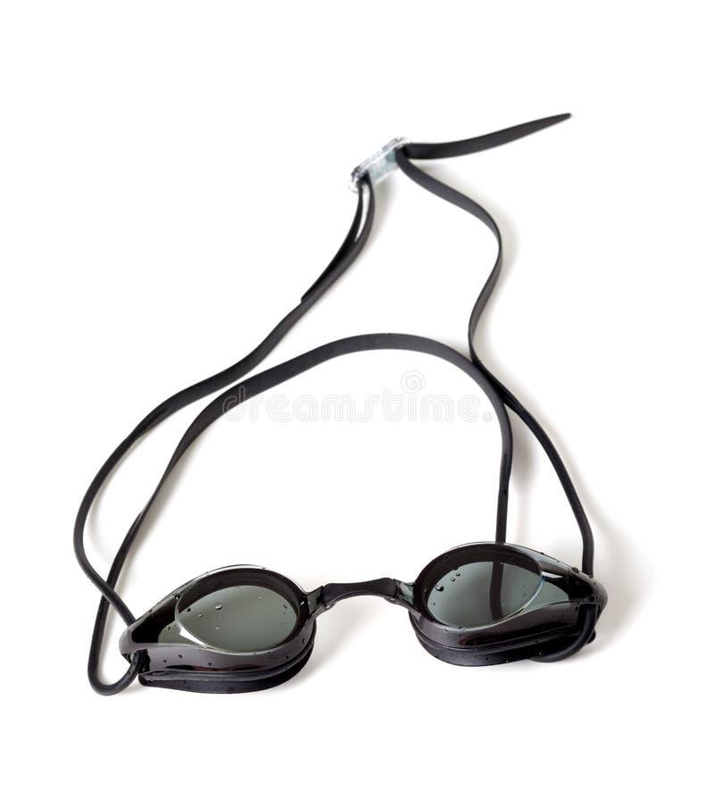 游泳的湿风镜在白色背景 免版税库存照片