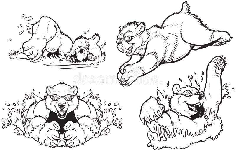 游泳的熊和潜水的传染媒介 库存例证