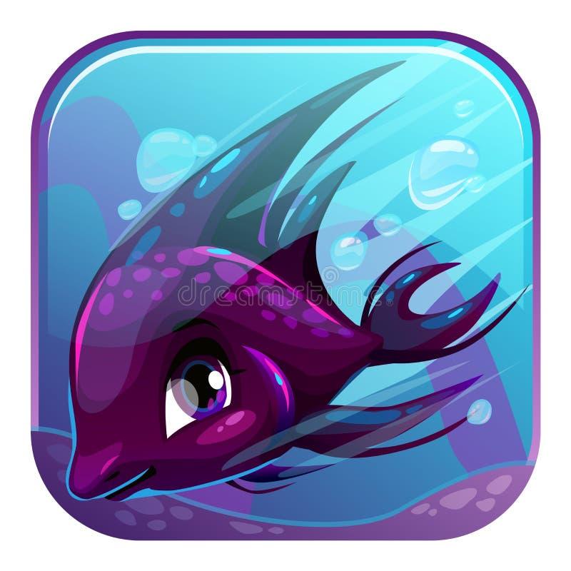 游泳的黑鱼例证 库存例证