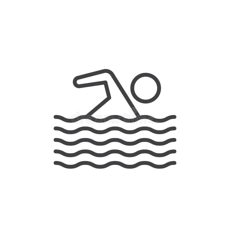 游泳线象,概述传染媒介标志,在白色隔绝的线性样式图表 向量例证