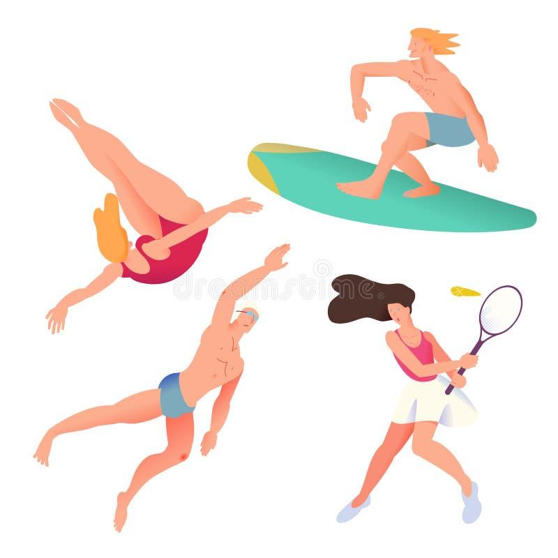 游泳者、冲浪者、网球员和潜水者 在与梯度设计的舱内甲板设置的运动员 r 向量例证
