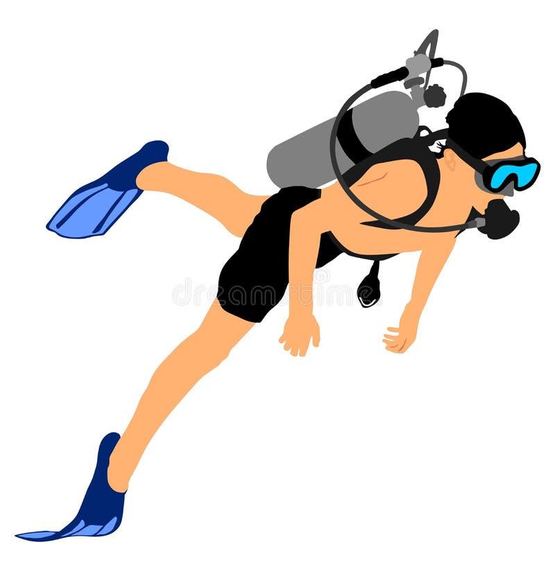 游泳者潜水者用在海下的设备 夏天海滩活动 库存例证