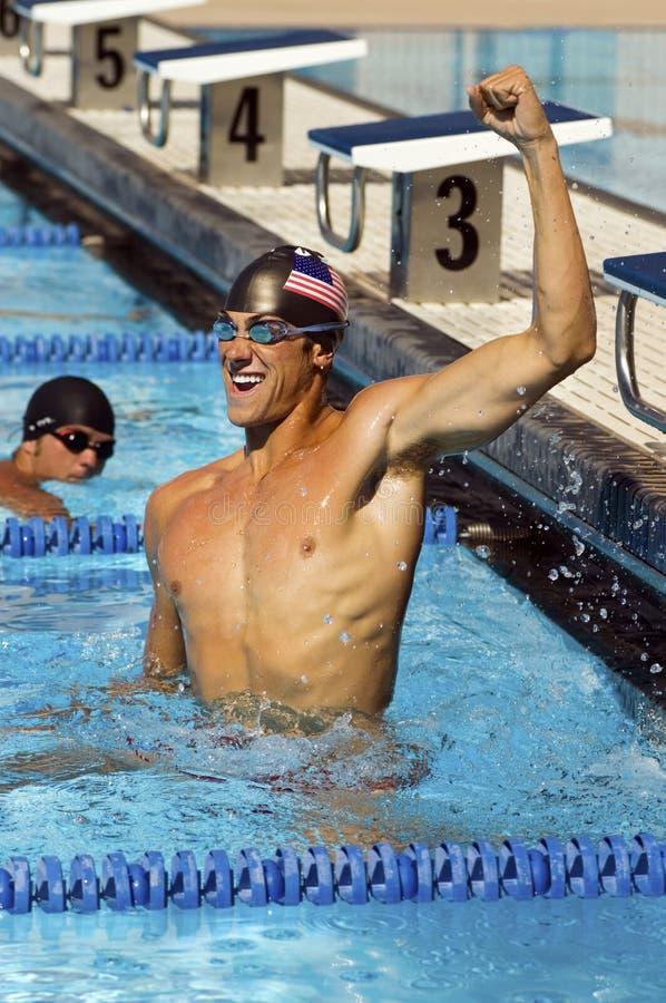 游泳者赢取 库存图片