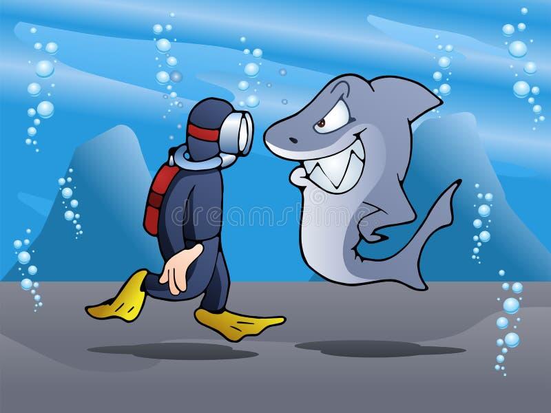 游泳者集会鲨鱼 库存例证