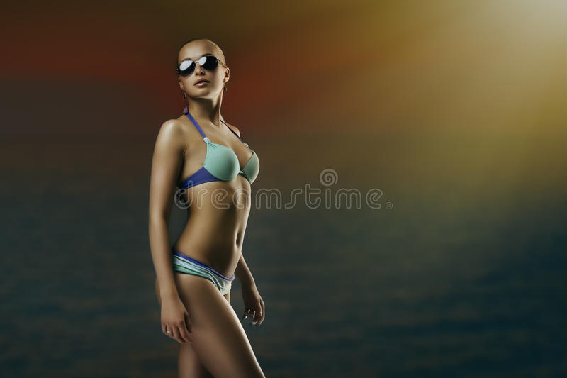 游泳衣的女孩 免版税库存照片