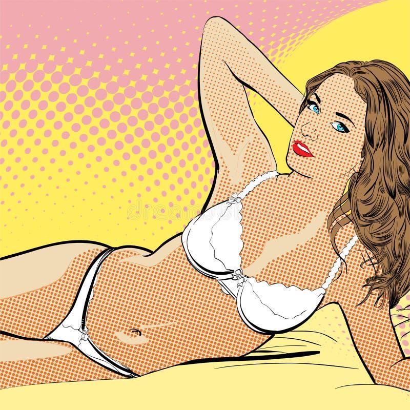 游泳衣的性感的年轻说谎的女孩 美丽的妇女年轻人 有的妇女乐趣 梦想的妇女 希望的妇女 库存例证